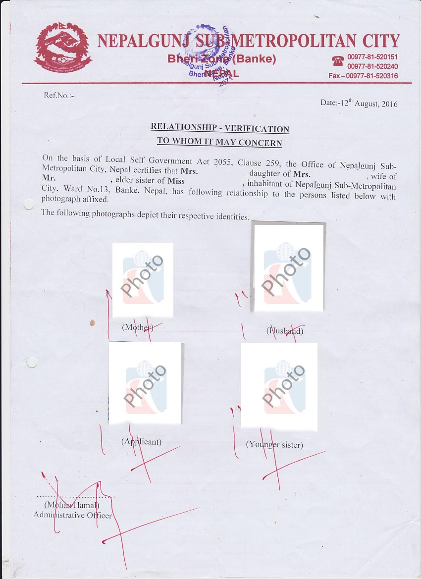 Relationship certificate with sponser kiec more documents for australia altavistaventures Gallery