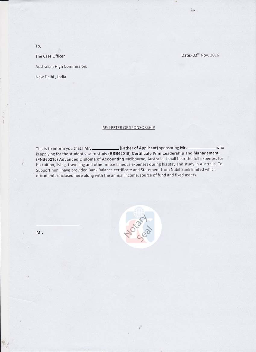 Affidavit Of Support Letter | Sponsorship Certificate Affidavit Of Support Kiec