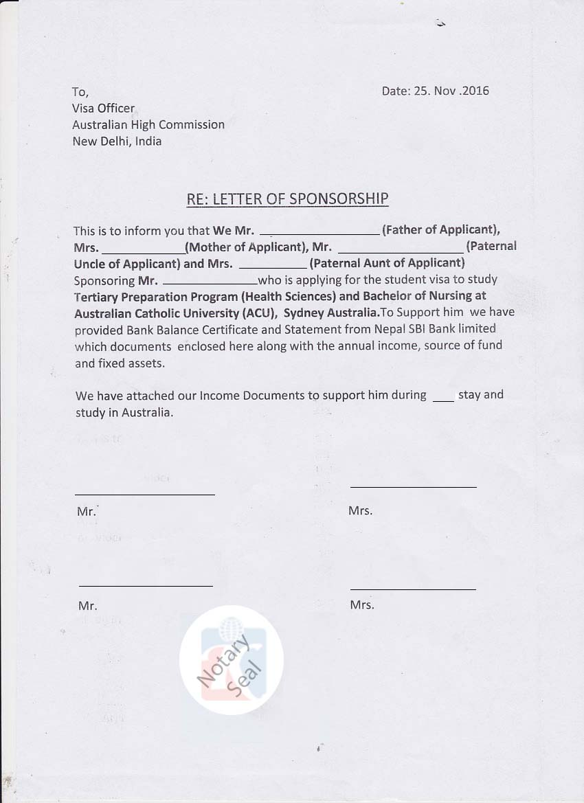 Sponsorship certificate affidavit of support kiec sample documents spiritdancerdesigns Choice Image