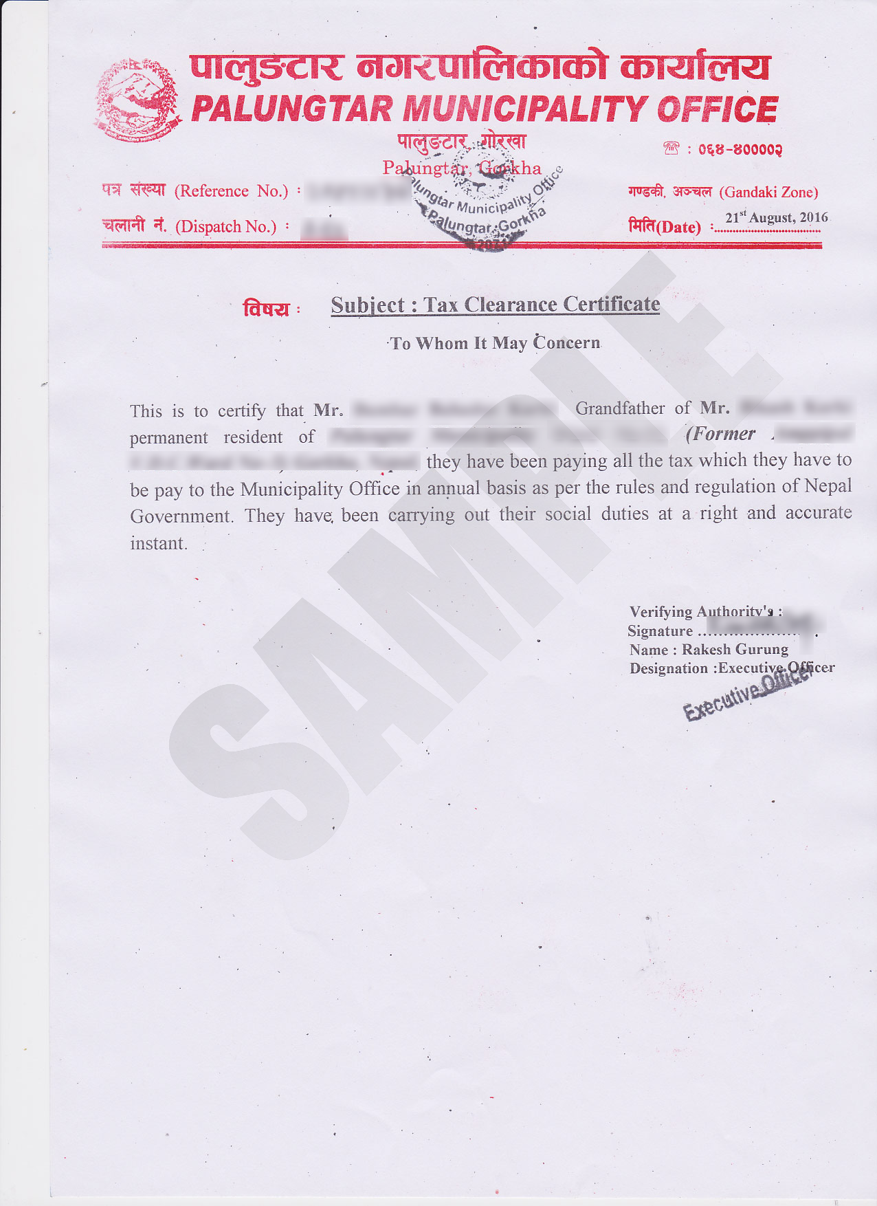 ... Tax Clearance Certificate Sample 2 ...  Pay Certificate Sample
