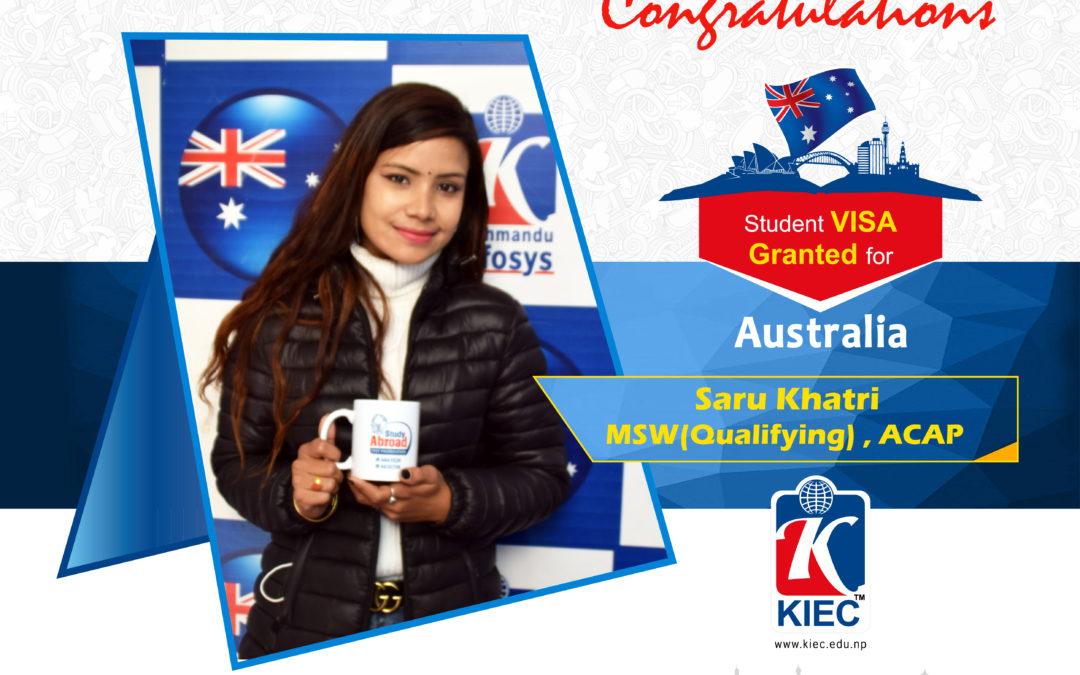 Saru Khatri | Australia Study Visa Granted