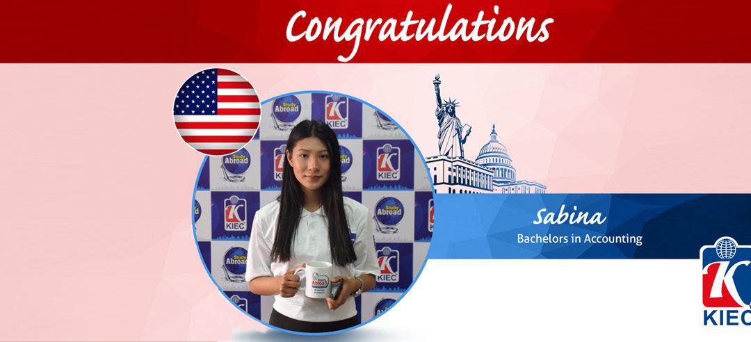 KIEC | Sabina USA study Visa granted