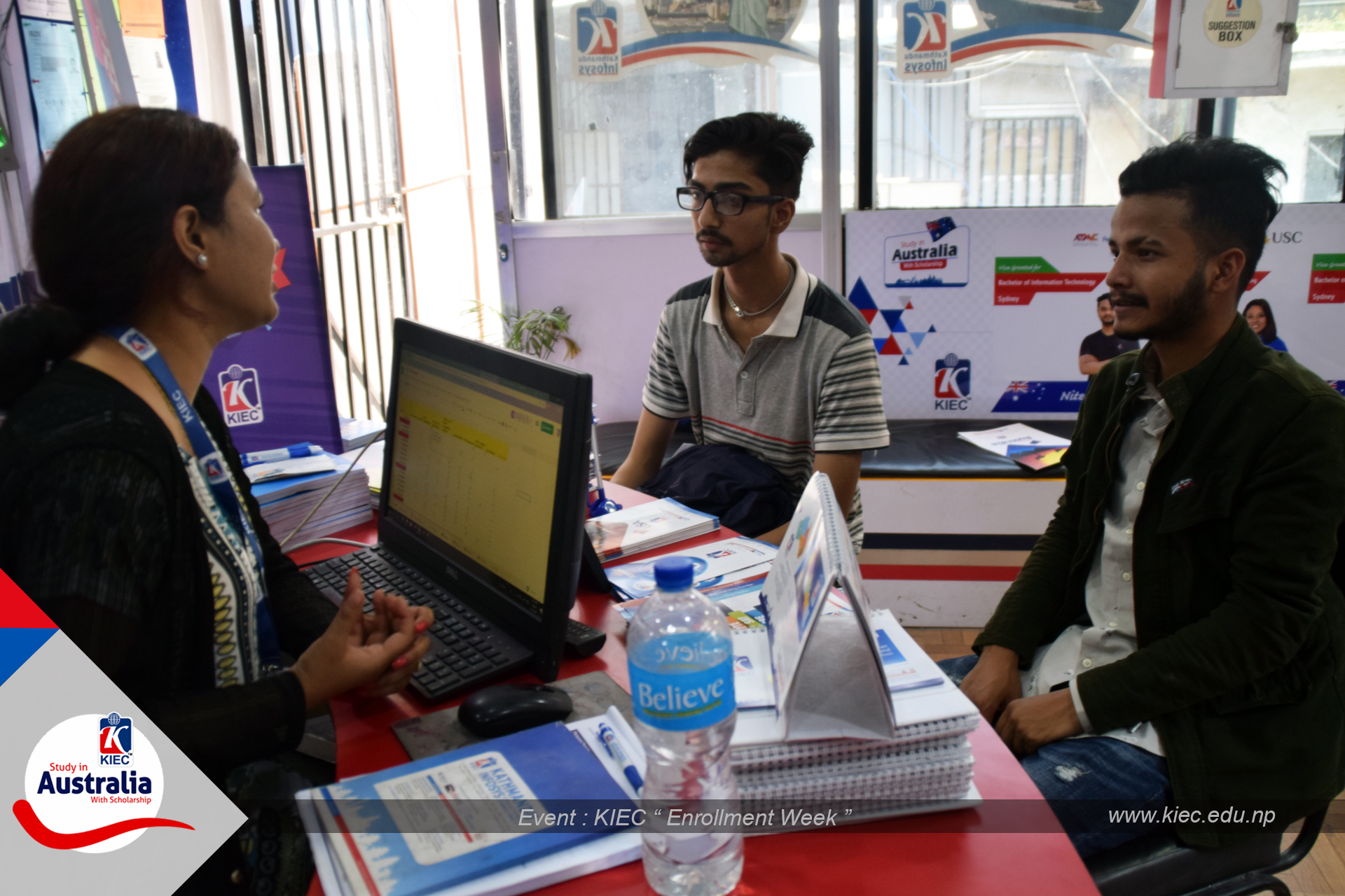 KIEC Counsellor Bhuwan Bhandari counselling with Visitors