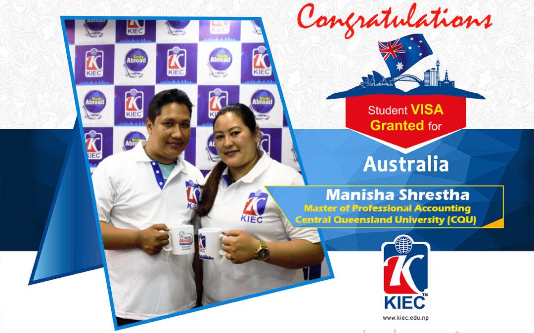 Mrs Manisha Shrestha With Mr Sunil Acharya | Australian Study Visa Granted
