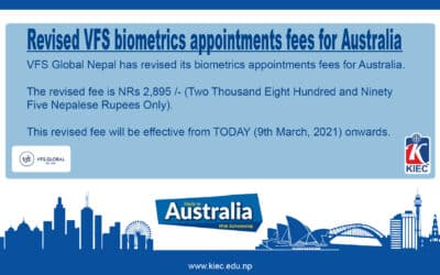 Revised VFS biometrics appointments fees for Australia